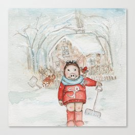 Winter Chores Can Be Fun  Canvas Print