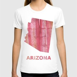 Arizona map outline Indian red stained wash drawing pattern T-shirt