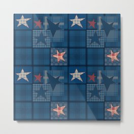 Blue denim patchwork . Metal Print