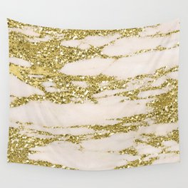 Marble - Gold Marble Glittery Light Pink and Yellow Gold Wall Tapestry