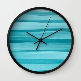 Teal Watercolor Lines Pattern Wall Clock