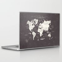 letters Laptop & iPad Skins featuring The World Map by Mike Koubou