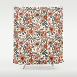 70s flowers - 70s, retro, spring, floral, florals, floral pattern, retro flowers, boho, hippie, earthy, muted Shower Curtain