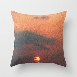 Dragon steals the Sun Throw Pillow