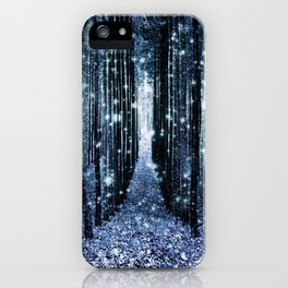 Magical Forest Teal Indigo Elegance iPhone Case