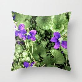 Wild Violets With Attitude Throw Pillow