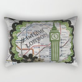 Awesome London Green Rectangular Pillow