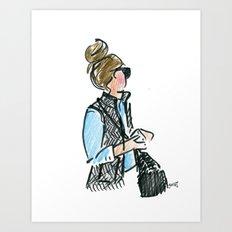 Top Knot. Tweed Vest. Art Print