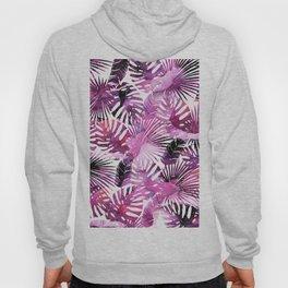 Modern pink purple watercolor tropical palm monster leaves Hoody