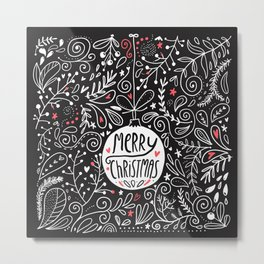 Merry Christmas doodles Metal Print
