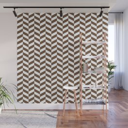 Coffee Brown Herringbone Pattern Design Wall Mural