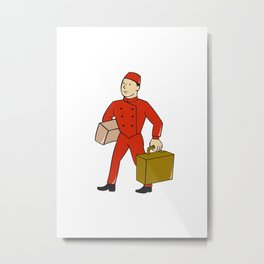 Bellboy Bellhop Carry Luggage Cartoon Metal Print