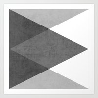 black white Art Prints featuring black and white triangles by her art
