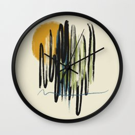 Yellow sun Wall Clock