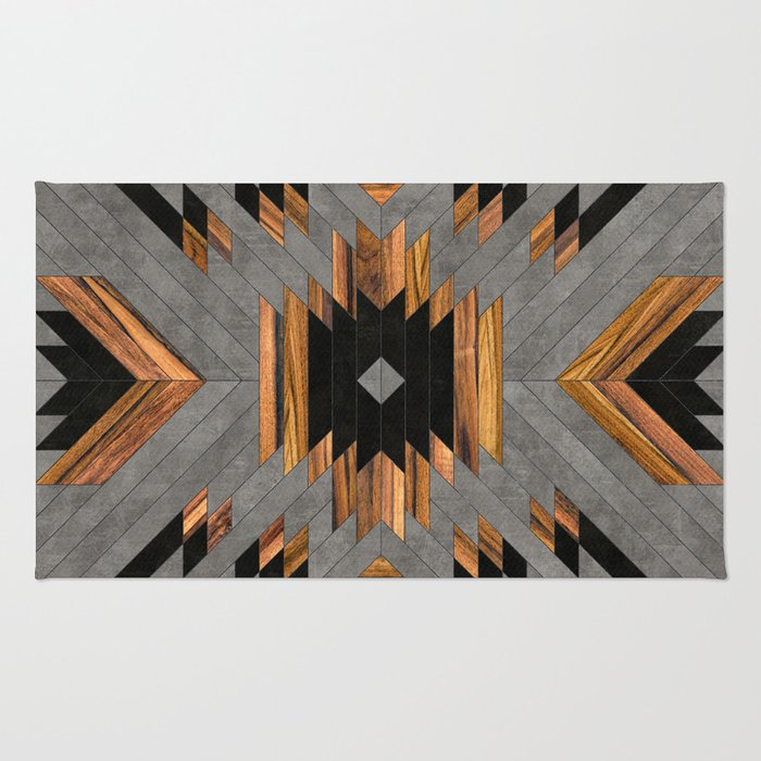 Urban Tribal Pattern 6 - Aztec - Concrete and Wood Rug