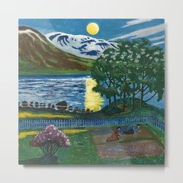 Planting the Spring Crops Lakeside under the yellow May Moon landscape painting by Nikolai Astrup Metal Print