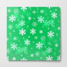 Light Green Snowflakes Metal Print