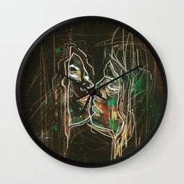 Black kiss Wall Clock
