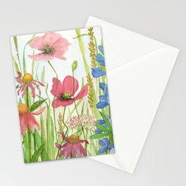 Watercolor Garden Flower Poppies Lupine Coneflower Wildflower Stationery Cards