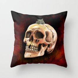 Cracked skull with mouse Throw Pillow