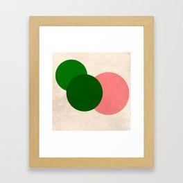 Peach Green Vintage Mod Circles Framed Art Print