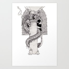 Dot shaded dragon Art Print