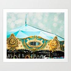 Love A Fair . . .  blue carousel Art Print