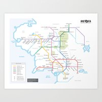 middle earth Art Prints featuring Middle Earth Transit Map by mehmetikberker