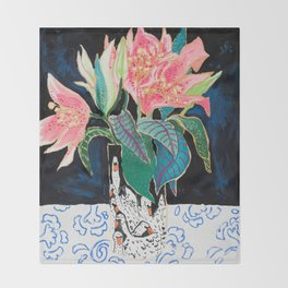 Swan Vase with Pink Lily Flower Bouquet on Dark Blue and Black Winter Floral Throw Blanket