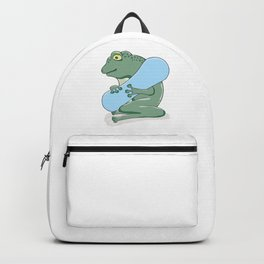 Frog with blue snowboard ready for downhill skiing Backpack