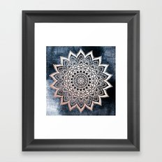 BLUE BOHO NIGHTS MANDALA Framed Art Print