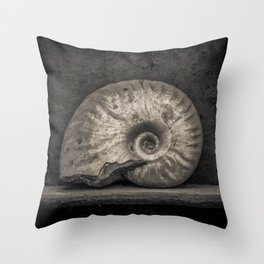 Ammonite Fossil in Sepia Throw Pillow