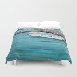 Dinghy Boats Ocean Dock Blue Sea Duvet Cover