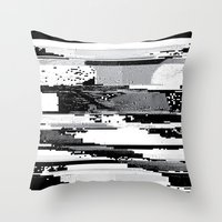 glitch Throw Pillows featuring Glitch by poindexterity