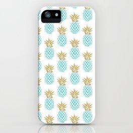 Elegant faux gold pineapple pattern iPhone Case