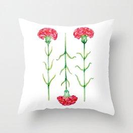 Carnations flowers watercolor art Throw Pillow
