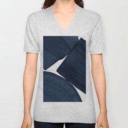 Minimalist Painting Blue II, Modern Abstract Unisex V-Neck