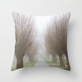 Misty willow lane Throw Pillow