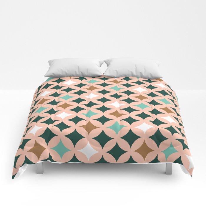 Retro mid-century circles check pastel colors Comforters
