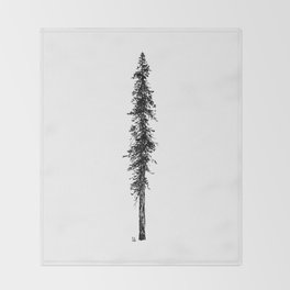 Love in the forest - a couple and their dog under a solitary, towering Douglas Fir tree Throw Blanket