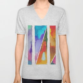 180811 Watercolor Block Swatches 3 | Colorful Abstract |Geometrical Art Unisex V-Neck
