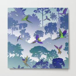 Macaw Canopy // Blue-Violet Metal Print