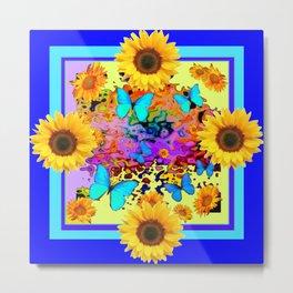 Blue Design Sunflower Butterflies Dream Metal Print