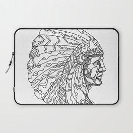 American Plains Indian with War Bonnet Doodle Laptop Sleeve