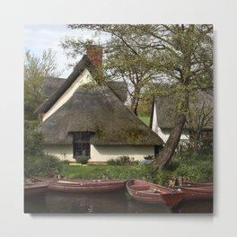 Constable Thatched Bridge Cottage, Flatford Metal Print