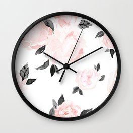 Vintage Blush Floral - BW Wall Clock