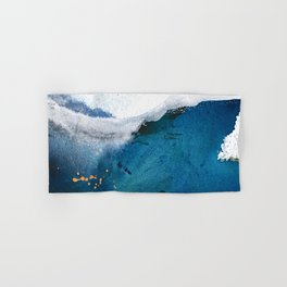 In the Surf: a vibrant minimal abstract painting in blues and gold Hand & Bath Towel