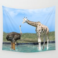 ostrich Wall Tapestries featuring The Ostrich with Galoshes by Gravityx9