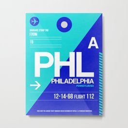 PHL Philadelphia Luggage Tag 1 Metal Print