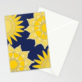 Sunshine yellow navy blue abstract floral mandala Stationery Cards